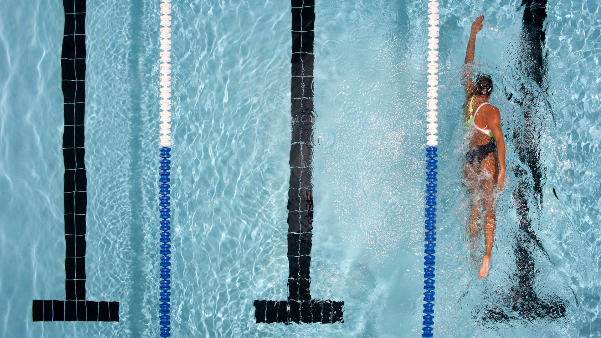 Photo of a person swimming in a pool lane