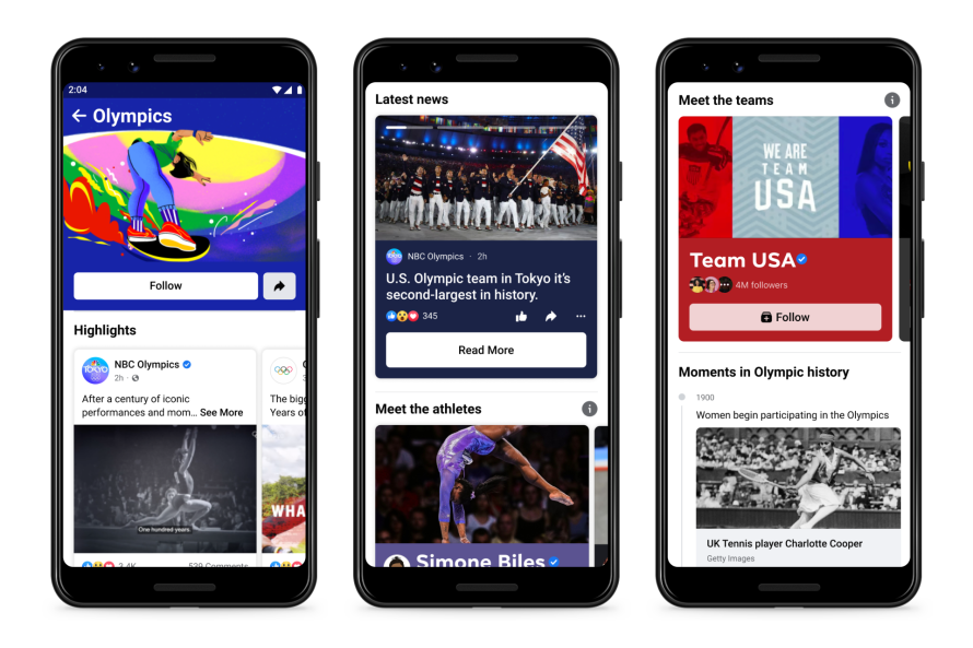Screenshots of Olympics hub on Facebook