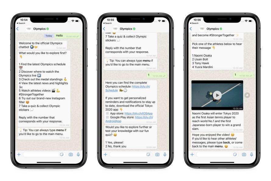 Screenshots of Olympic chatbot on WhatsApp