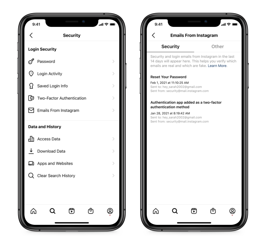 Screenshot of Instagram security settings