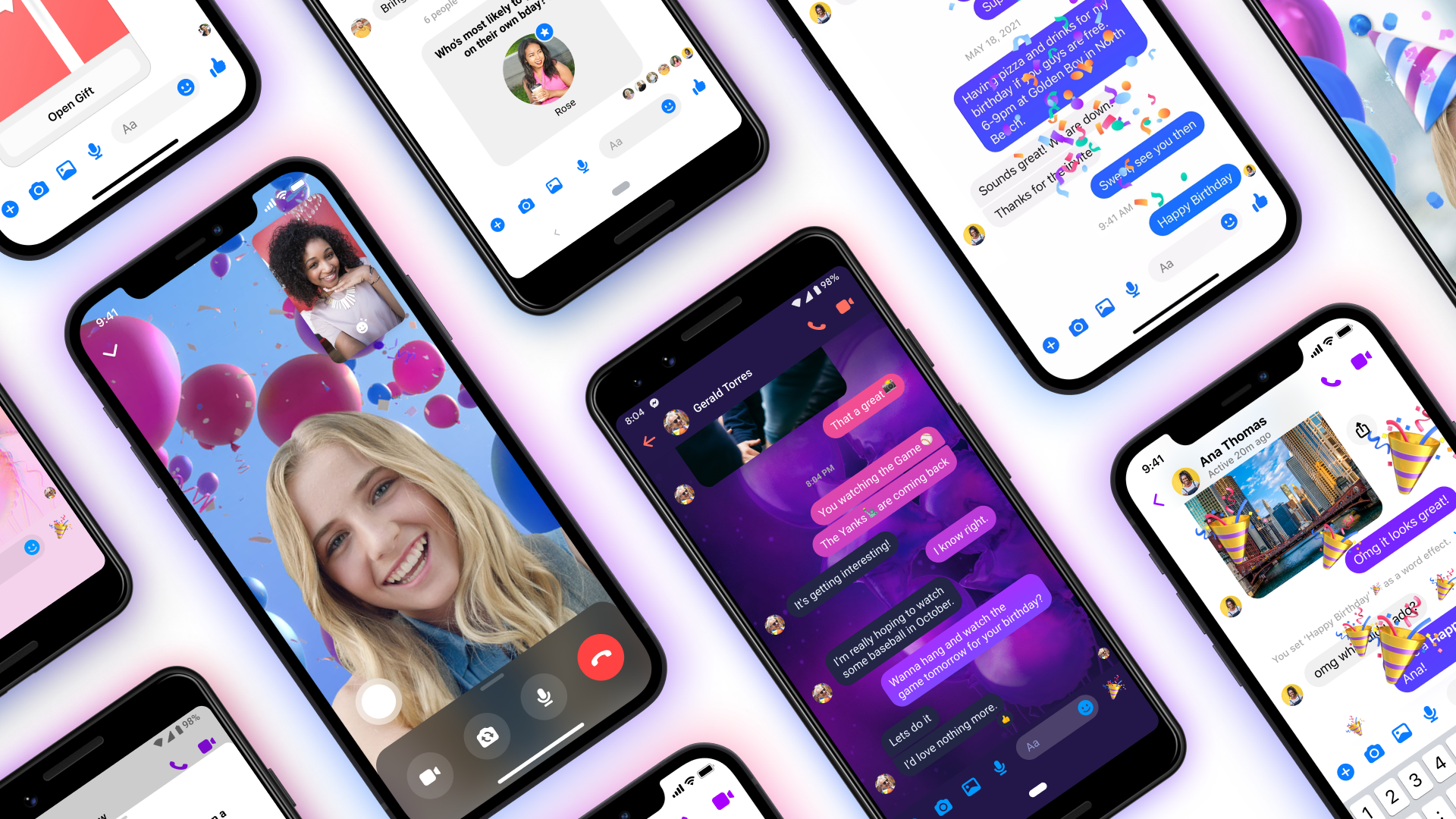 Screenshots of Messenger 10th Birthday product features