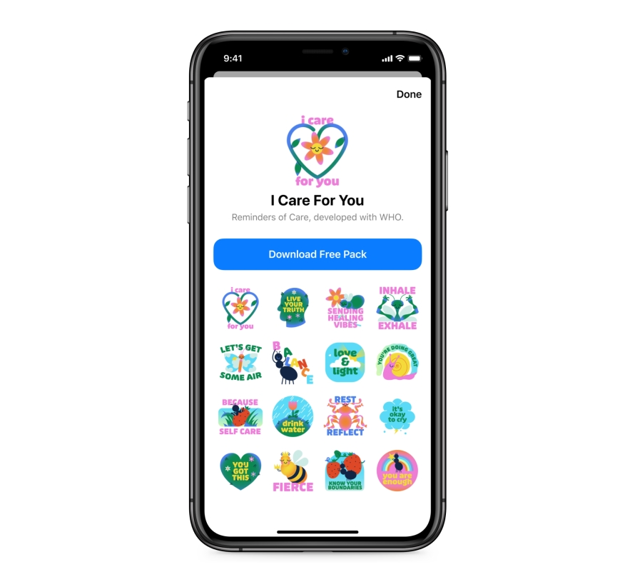 """Product mock of """"I Care About You"""" Messenger Sticker Pack"""